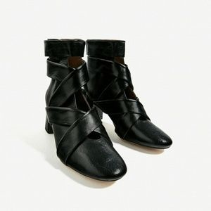 ZARA High Heel Black Leather Ankle Boots Straps